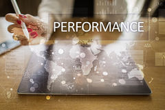 Performance indicator on virtual screen. KPI. Business growth strategy. Performance indicator on virtual screen. KPI. Business growth strategy Stock Photos