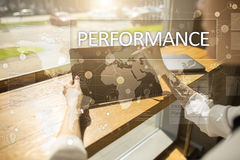 Performance indicator on virtual screen. KPI. Business growth strategy. Performance indicator on virtual screen. KPI. Business growth strategy Stock Image