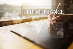 Performance indicator on virtual screen. KPI. Business growth strategy. stock photo