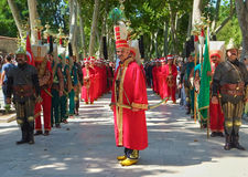The performance of the Janyssar orchestra in the First Courtyard. ISTANBUL, TURKEY - JULY 12, 2014; The show of the Mehter orchestra in the First Courtyard of Stock Photography