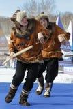 Performance of Kamchatka State Academic Koryak National Dance Ensemble Mengo. PETROPAVLOVSK CITY, KAMCHATKA PENINSULA, RUSSIA - MAR 1, 2018: Incendiary dance of Stock Image
