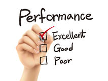 Performance list checking by 3d hand Royalty Free Stock Image