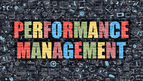 Performance Management Concept with Doodle Design Icons. Royalty Free Stock Image