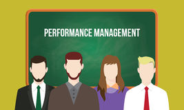 Performance management concept in a team illustration with text written on chalkboard Stock Photos