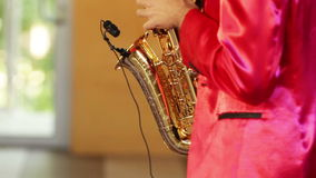 Performance of a melody saxophone. Stock Image