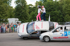 Performance of members from stuntmen team Royalty Free Stock Photography