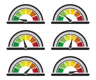 Performance meter. Set of performance or speed meter stock illustration