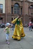 The performance of musicians and dancers Bashkir national ensemble Yandek (Bashkortostan) Stock Images