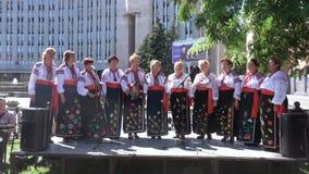 Performance National Ukrainian choir. Dnepropetrovsk SEPTEMBER 11, 2016: Performance National Ukrainian choir on City Day in Dnepropetrovsk, September 11, 2016 stock video