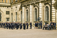 The performance of the orchestra at the ceremony of the changing of the guard Royalty Free Stock Photos