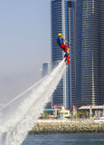 Performance of the participant in the competition for the fly boarding at SkyDiveDubai. In Dubai in 2014 Stock Photos