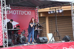 The performance of the popular singer Anna Malysheva and pop band Mint Stock Image