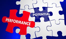 Performance Potential Puzzle Piece Fill Gap Words 3d Illustratio. N Stock Images