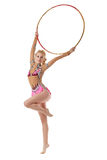 Performance of pretty artistic gymnast with hoop Royalty Free Stock Image