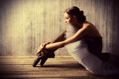After performance. Professional ballet dancer resting after the performance. Art concept royalty free stock images