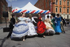 The performance of promoters and dancers of the ensemble of historical costume and dance Persona Viva. Stock Photos