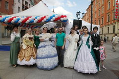 The performance of promoters and dancers of the ensemble of historical costume and dance Persona Viva. Stock Image