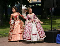 The performance of promoters and dancers of the ensemble of historical costume and dance Rameau's Nephews. Ensemble of Dancers. The performance of the ensemble stock photos