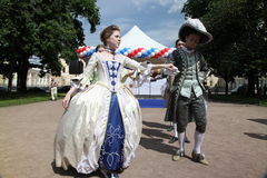 The performance of promoters and dancers of the ensemble of historical costume and dance Vilanella Royalty Free Stock Photography