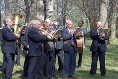 Performance of a provincial wind band. During celebration of a rural holiday Stock Photography