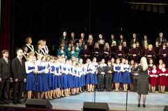 The performance of the pupils of the Junior school of the arts at the city theater in Gomel (Belarus) February 19, 2012. Royalty Free Stock Photography