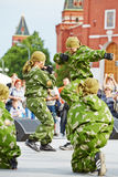 Performance of pupils of Preobrazhensky Cadet Corps Stock Image
