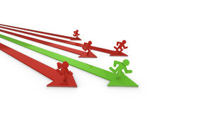 Performance race to success. Four red and one green arrow with runners on it, the leading green one is the winner of the performance race 3D illustration Stock Photography