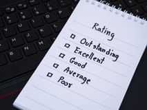 Performance rating on laptop key board 1 Royalty Free Stock Photos