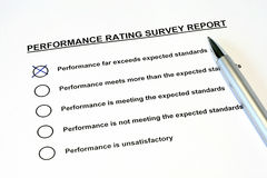 Performance Rating Survey Report Stock Photos