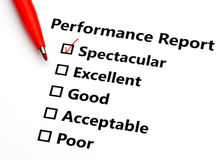 Performance report Stock Image