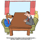 Performance Review. Business cartoon about coworkers giving input on performance reviews Royalty Free Stock Photo