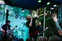Performance of the rock group `Chumatsky Shlyakh` June 10, 2017 in Cherkassy, Ukraine. Performance of the rock group Chumatsky Shlyakh June 10, 2017 in Cherkassy royalty free stock photo