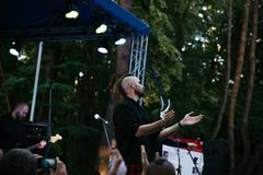 Performance of the rock group `Chumatsky Shlyakh` June 10, 2017 in Cherkassy, Ukraine. Performance of the rock group Chumatsky Shlyakh June 10, 2017 in Cherkassy Royalty Free Stock Photography