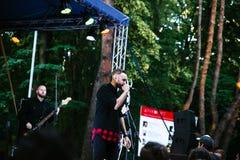 Performance of the rock group `Chumatsky Shlyakh` June 10, 2017 in Cherkassy, Ukraine. Performance of the rock group Chumatsky Shlyakh June 10, 2017 in Cherkassy royalty free stock image