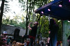 Performance of the rock group Chumatsky Shlyakh June 10, 2017 in Cherkassy, Ukraine.  royalty free stock images