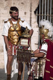 Performance of Roman gladiators in the Colosseum Stock Photography