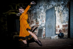 Performance in the ruin Stock Image