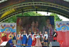 Performance of the Russian national folklore ensemble at fair of Stock Photography