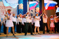 The performance of Russian soldiers, dancers of song and dance ensemble of the Leningrad military district. The performance on the stage of Palace of culture Stock Photos
