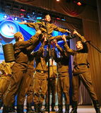The performance of Russian soldiers, dancers of song and dance ensemble of the Leningrad military district. The performance on the stage of Palace of culture Royalty Free Stock Photography