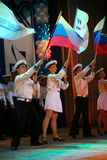 The performance of Russian soldiers and sailors, dancers of song and dance ensemble of the Leningrad military district. Royalty Free Stock Image