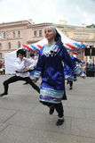 The performance of soloists-dancers of the ensemble Imamat (solar Dagestan) with traditional dances of the North Caucasus. Stock Photo