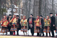 Performance of the song. MOSCOW - FEBRUARY 25: Choir of Russian Song for the Celebration of Shrovetide, a traditional Russian holiday (pancake week, maslenitsa) Royalty Free Stock Photo