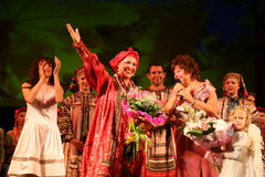 The performance on the stage of actors, soloists, singers and dancers of the national theatre russian song. Folk singer of Russian national songs nadezhda royalty free stock images
