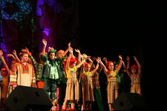 The performance on the stage of actors, soloists, singers and dancers of the national theatre russian song. Folk singer of Russian national songs nadezhda stock photos