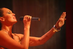 The performance on the stage actress and singer of russian classical crossover diva Larisa Lusta. Stock Photography