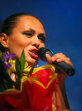 The performance on the stage actress and singer of russian classical crossover diva Larisa Lusta. Stock Image