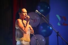 The performance on the stage actress and singer of russian classical crossover diva Larisa Lusta. Royalty Free Stock Images