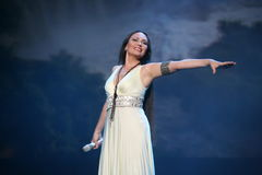 The performance on the stage actress and singer of russian classical crossover diva Larisa Lusta. Royalty Free Stock Image