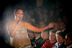 The performance on the stage actress and singer of russian classical crossover diva Larisa Lusta. Stock Photo